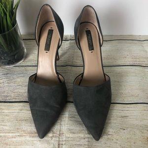 Zara Grey Suede D'Orsay Pumps Heels Size 40